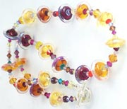 Jetson Glass Necklace -- Browns/Golds - Brunch in Santa Monica
